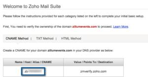 Zoho Mail Control Panel